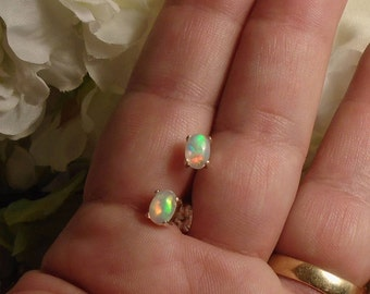 Florescent Rainbow Ethiopian Fire Opal Earrings, Sterling Silver Necklace, 1.10 Cts Extreme Fire 6.5 x 4.2mm  Welo Ethiopian Fire Opal