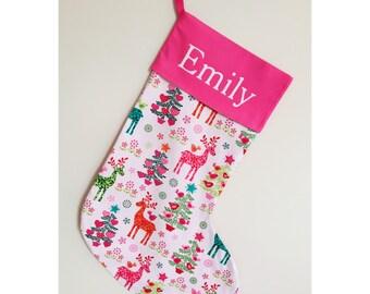 Handmade Nordic Reindeer pink Christmas stocking
