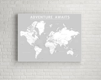 Gray world map etsy world push pin map print only travel map map poster travel gumiabroncs Gallery