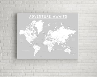 Gray world map etsy world push pin map print only travel map map poster travel gumiabroncs Image collections