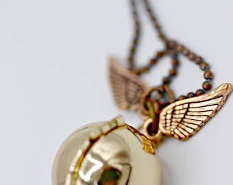 Harry Potter Theme Golden Snitch Locket Necklace with Copper Wings on 26 inch Copper Ball Chain