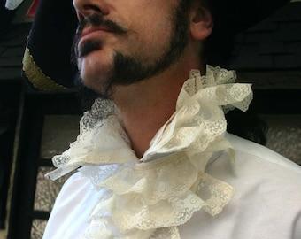 Gentlemen's White Elizabethan Ruff Steampunk Pirate Shirt