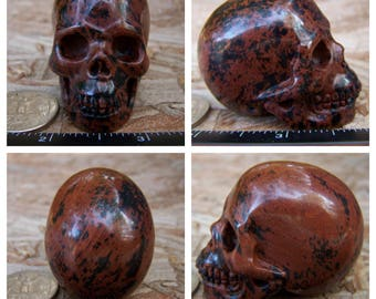 """2.05"""" 3.2oz 89.6g Mahogany Obsidian Skull Realistic Crystal Healing Magical Magick Metaphysical Mystic Reiki Wicca Brown Large 2 inch SK2098"""
