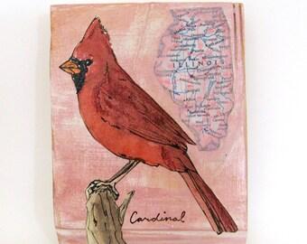 Cardinal -- Illinois state bird painting