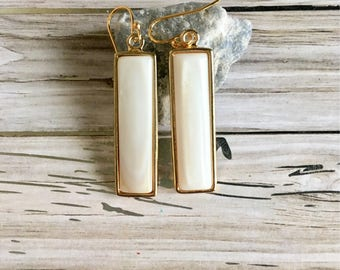 Rectangular Natural Stone Earrings, White River shell, Drop Earrings, Wedding Gift, Bridesmaid gift