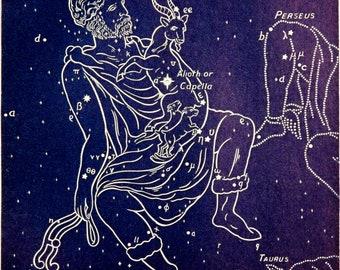 1911 Antique print of STARS. CONSTELLATIONS. AURIGA. Astronomy print. Zodiacal Constellations. Zodiac. 117 years old celestial chart