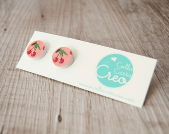 White-colored lobe paper earrings with cherry, handmade, friendly