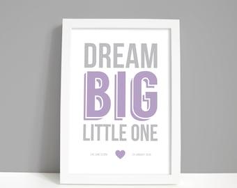 Personalised nursery decor print, New baby gifts, Nursery wall art, Nursery prints, Dream big little one print
