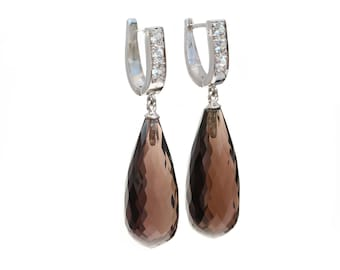 Smokey quartz and white sapphires briolette drop earrings