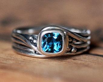 London blue topaz engagement ring set, alternative engagement ring, bridal ring set, unique engagement ring recycled engagement ring, custom