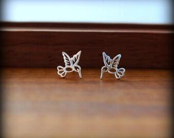 Hummingbird earrings, Hummingbird post earrings, Hummingbird jewelry