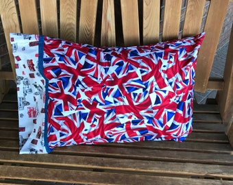 Novelty Pillowcase - British Themed / England Pillowcase / U.K - Union Jack - Made With Out Of Print Fabric