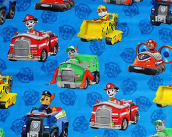 Paw Patrol Rescue Vehicles Fabric, Blue Quilting Cotton, David Textiles, 100% Cotton, by the half yard