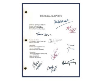 The Usual Suspects 1995 Movie Script Autographed Signed: Gabriel Byrne, Kevin Spacey, Stephen Baldwin, Kevin Pollak, Peter Greene