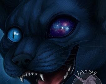 Universal Eye - Digital Print - Original artwork,digital,painting,cat,galaxy,starry skies,stars,kitty,decor,art,artist,prints,print.