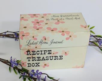 Adorable Ladies Home Journal Pink Flower Ohio Art Recipe Treasure Box