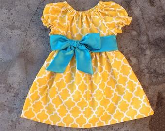 baby girl dresses, baby dress, monogram dress, yellow quatrefoil dress, little girl dresses, infant dress, personalized girl dress