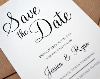 SAMPLE ONLY - Save the Date - Personalised Calligraphy Script Black & White Wedding A6 Save the Date including C6 Kraft Envelope