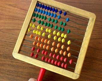 Vintage Abacus with Bright Counting Beads
