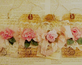 French Gift Tags, Vintage Lace and Rose Gift Tag, Rose Gift Tags with Glitter, Lace and Scrunched Seam Binding Gift Tags ECS