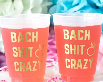 Bach Shit Crazy Bachelorette Shatterproof Cups, Personalized Cups, Bachelorette Party Cups, Bridal Party, Hen Party, Bridesmaid Gift