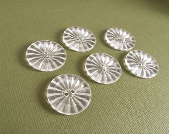 Clear plastic sewing buttons - set of 6 vintage craft buttons 23mm