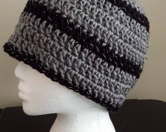 Crochet Reflective Stripes Beanie