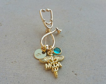 MA Medical Assistant Gold Tone Handstamped Personalized Crystal Birthstone Initial Stethoscope Brooch Pin