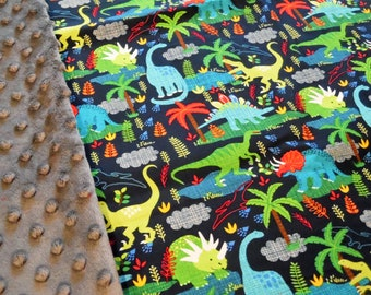 "Dinosaurs on Navy Minky Blanket 36"" x 42"""