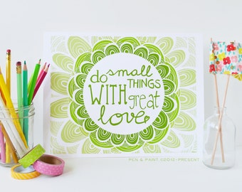 Green, Nursery Decor, Kids Room, Graduation Gift, Lime, Apple Ombre, Mother Teresa, Do Small Things With Great Love, Inspiring Quote
