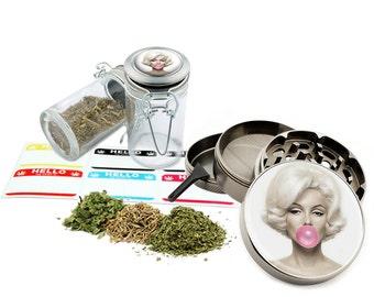 "Marilyn Monroe - 2.5"" Zinc Alloy Grinder & 75ml Locking Top Glass Jar Combo Gift Set Item # 50G012516-5"