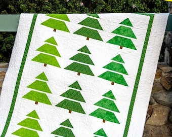SALE Tree Line Quilt Pattern - Christmas Tree Quilt Pattern - Holiday Throw Quilt Pattern - Cozy Quilt Designs - Sew Chicks