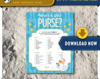 Digital INSTANT DOWNLOAD   Printable Baby Shower Game   What's in your Purse   Mother Goose Nursery Rhyme Theme   Party Printables Available