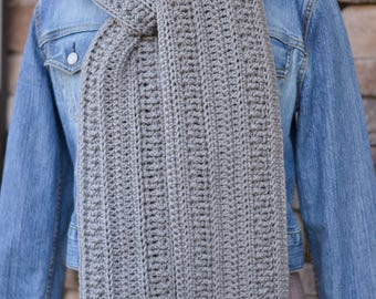 women's scarf - textured scarf - winter scarf - long scarf - handmade scarf - crochet scarf - gray scarf - teen scarf - ready to ship - gift