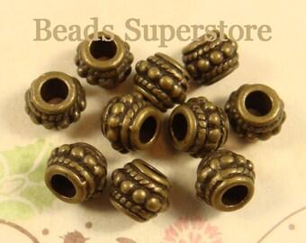 8 mm x 6.5 mm Antique Bronze Barrel Shape Spacer Bead - Nickel Free, Lead Free and Cadmium Free - 20 pcs