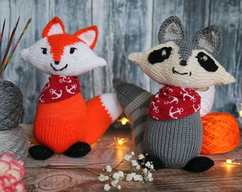 Fox and raccoon knitting pattern, woodland friends toy knitting pattern PDF download DIY