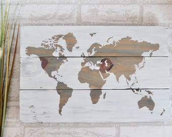 World Map Art - Map of the World - Wood Wall Decor - Reclaimed Wood Wall Art - Rustic World Map - World Map Decor - Wall Decor