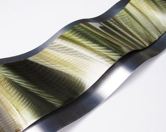 "Metal Wall Art Aluminum Sculpture ""Rythmic Curves"" Green Modern Painting by Brian M Jones Modern Home Decor Accent Earthtone"