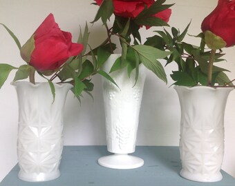 Milk Glass, Wedding Decor, Vintage, 1950s, Vintage Wedding, Vases, Set of 3, Milk Glass Vases, Harvest & Starburst Pattern, Hazel Atlas