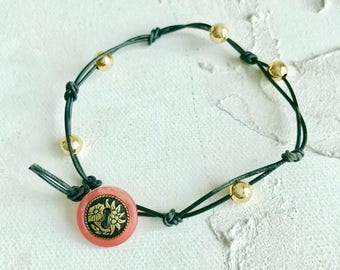 Vintage Flowers and Knotted Leather Bracelet