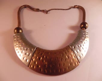 Vintage Mixed Metals Necklace Copper and Silver Tone Plates