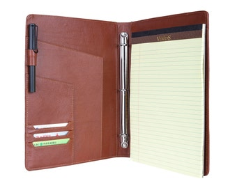 Personalized Genuine Leather Ultra Slim Portfolio 3-Ring Binder - Leather Folder - Organizer - Compact Designed Padfolio with Notepad holder