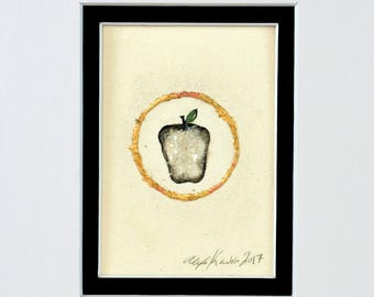 Apple / Original Painting with Gold Leaf / Matted and Ready to Fit in 5x7'' Frame