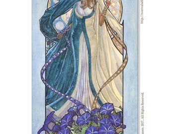 Art Print Lady of September Celestial Equinox Goddess with Masks and Morning Glories Birthstone Series Mucha Inspired Art Nouveau Painting