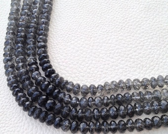 Brand New, Full 8 Inch Strand,Superb-CEYLON BLACK RUTILATED Quartz Rondelles ,7-7.5mm aprx.Nice Item,Limited Quantity