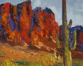 "Original Oil Painting titled ""The Red Rocks""  handmade Fine Art Home Decor from the southwest desert on canvas"