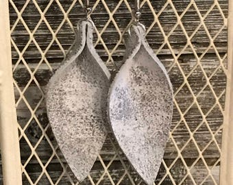 Leather Earrings, Leaf-Inspired, White and Silver Metallic, Light Weight