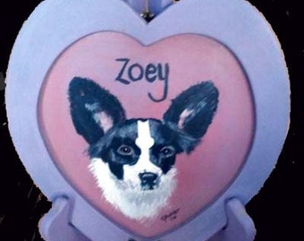 Framed heart portrait of pet,heart shaped frame, purple, pink,papillon,portrait on stand,little dog,butterfly ear dog, black,white