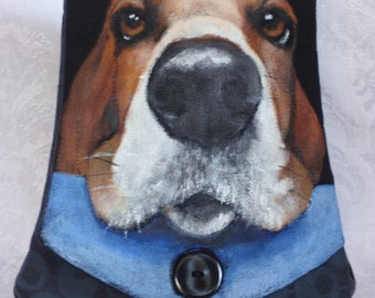 Cotton Cross Body Purse Hand Painted with 'Wilbur'