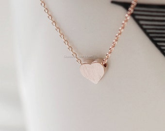 Rose Gold Heart necklace, Tiny heart necklaces, Rose Gold heart on Rose Gold chain...daint, simple, birthday, wedding, bridesmaid